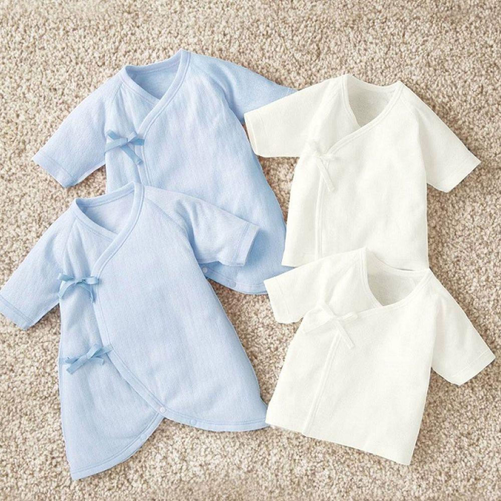 日本 Combi - mini系列-純棉保暖內衣4件組 (50-60)-白色肚衣*2 藍色蝴蝶裝*2