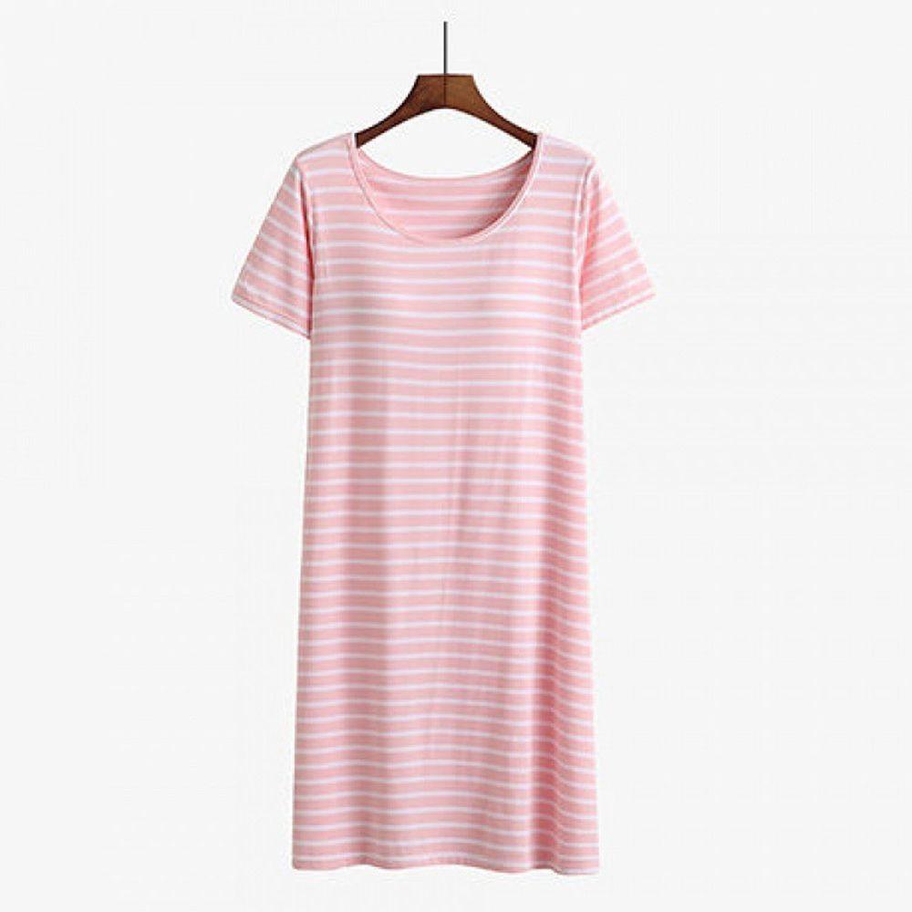 莫代爾柔軟涼感Bra T條紋睡裙-粉白條紋