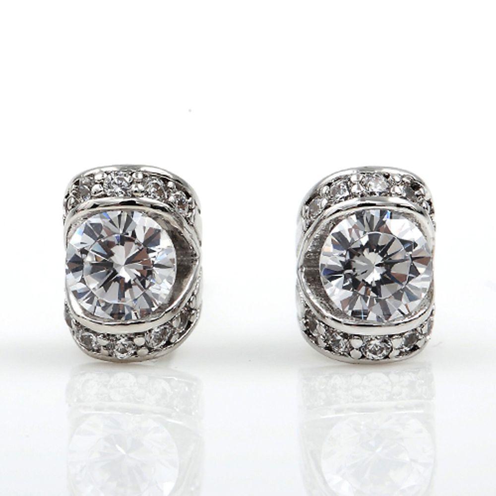 美國ILG鑽飾 - Treasure 珍藏之情 耳環- 頂級美國ILG Diamond,媲美真鑽亮度的鑽飾【ER064】-加贈高級珠寶級絨布盒1個-外國抗敏材質電鍍頂級白K金色