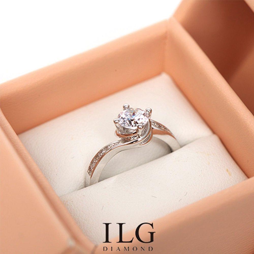 美國ILG鑽飾 - Circulating love 0.75克拉 扭轉托鑽設計-頂級美國ILG鑽飾,媲美真鑽亮度的鑽飾(經典永流傳 求婚 結婚 送禮首選)-加贈高級珠寶級絨布盒1個-外國抗敏材質電鍍頂級白K金色