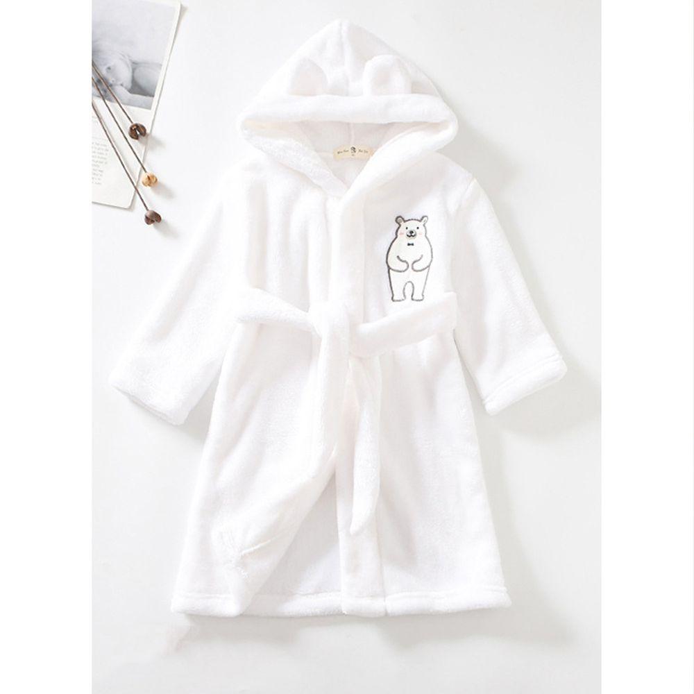 超柔軟珊瑚絨浴袍睡衣-白白白熊