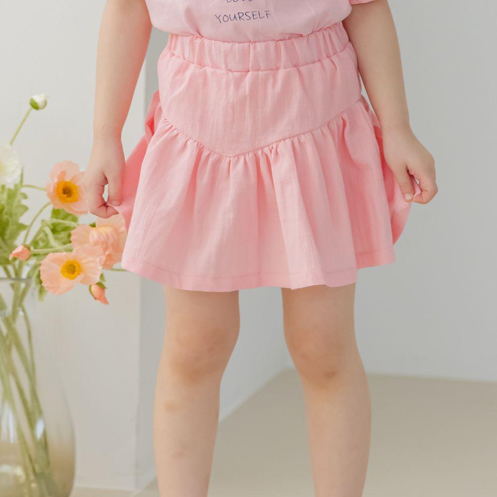 韓國 Orange Mom - 抓皺鬆緊褲頭褲裙-粉紅