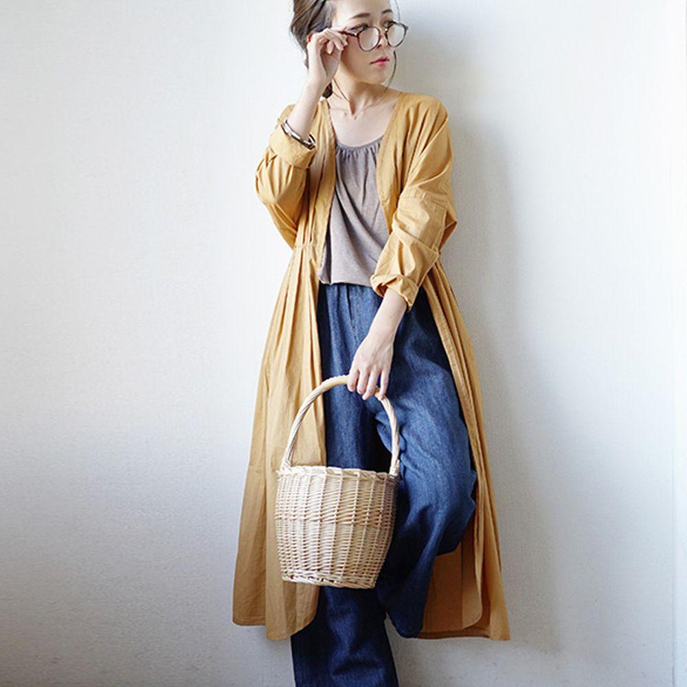 日本 zootie - 純印度棉長版綁帶罩衫/外套-芥末黃 (F)