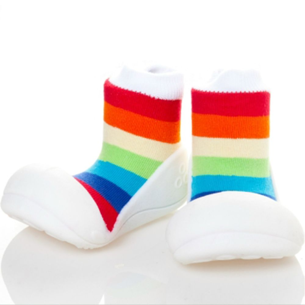韓國 Attipas - 襪型學步鞋-彩紅白底