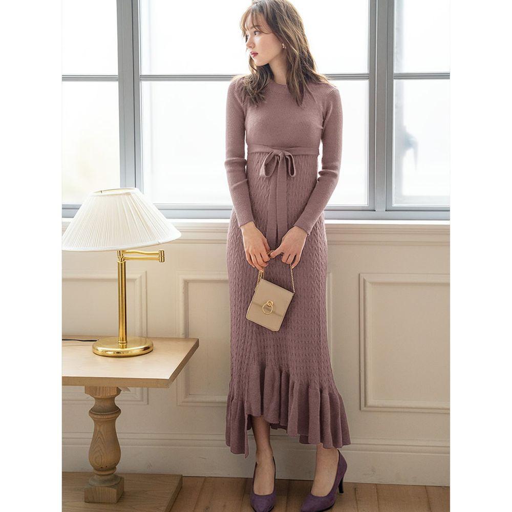日本 GRL - 不規則荷葉襬針織長袖洋裝-摩卡棕