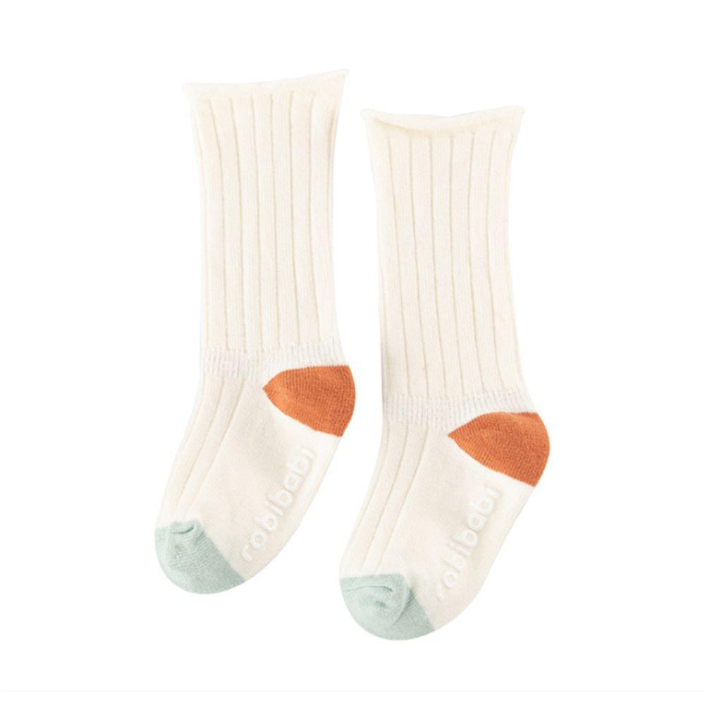 JoyNa - 簡約撞色 長筒鬆口薄襪(底部止滑)-白色