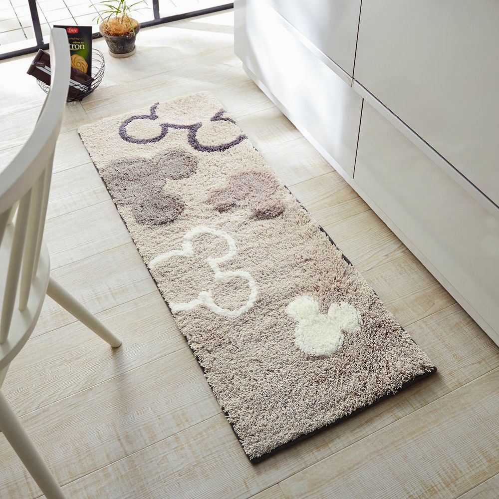日本千趣會 - 迪士尼 長毛長條型腳踏墊(廚房/臥室)-虛實米奇頭-灰色系