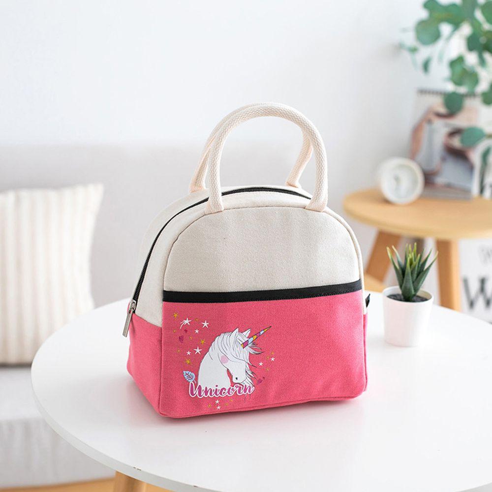 卡通手提保溫午餐包便當袋-粉色 (23*20*14cm)