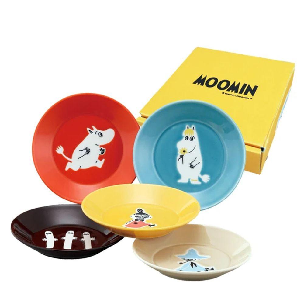 日本山加 yamaka - moomin 嚕嚕米彩繪陶瓷淺盤禮盒-MM1300-57-5入組