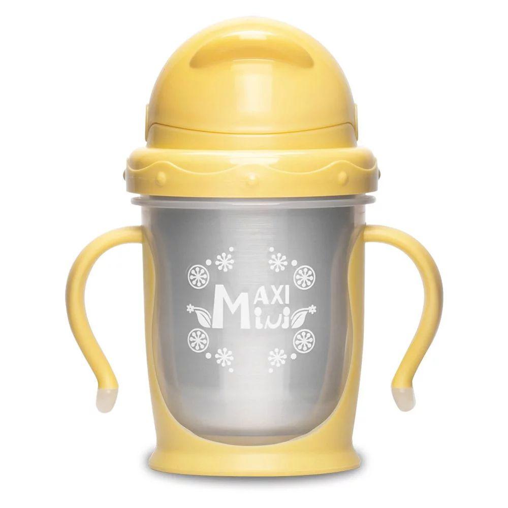 美國 MaxiMini - 嬰幼兒抗菌不鏽鋼彈跳吸管水壺-奶油黃
