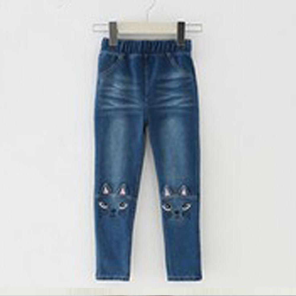 日本 Maison de Ravi - 貓咪刺繡牛仔長褲-深藍