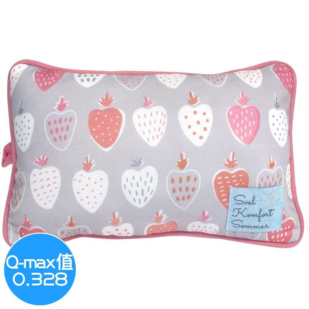 日本 DAIKAI - 接觸涼感小枕頭/午睡枕-草莓-灰粉 (30x20cm)