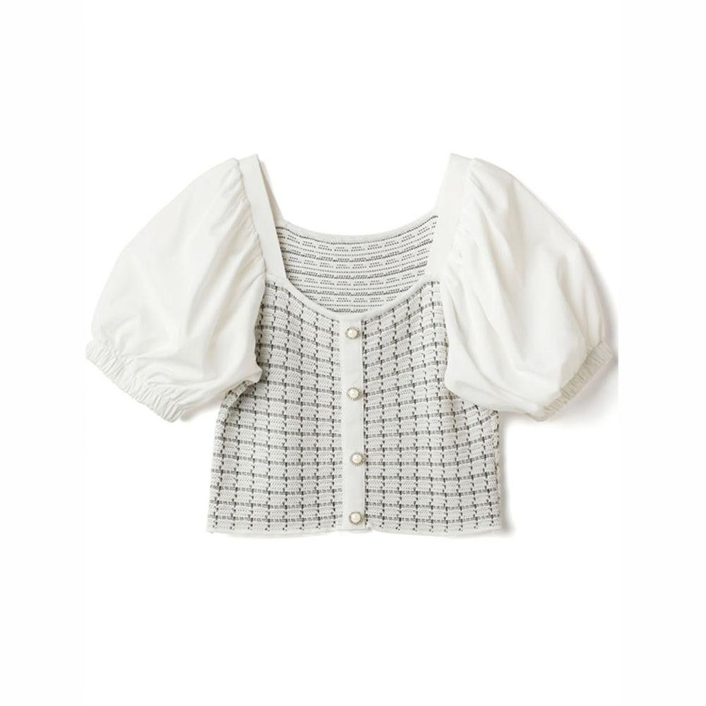 日本 GRL - 異材質拼接小網格針織排扣U領短袖上衣-天使白