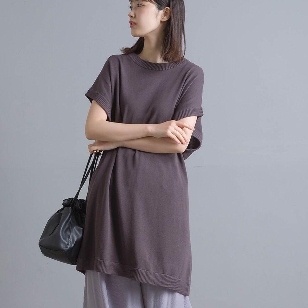日本女裝代購 - 強撚紗12G 純棉針織綁帶後開衩短袖長版上衣-深灰