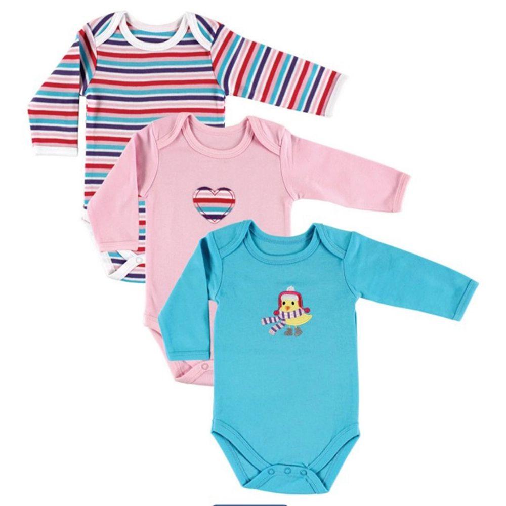 美國 Luvable Friends - 嬰幼兒100%純棉長袖包屁衣3件組-黃色小雞