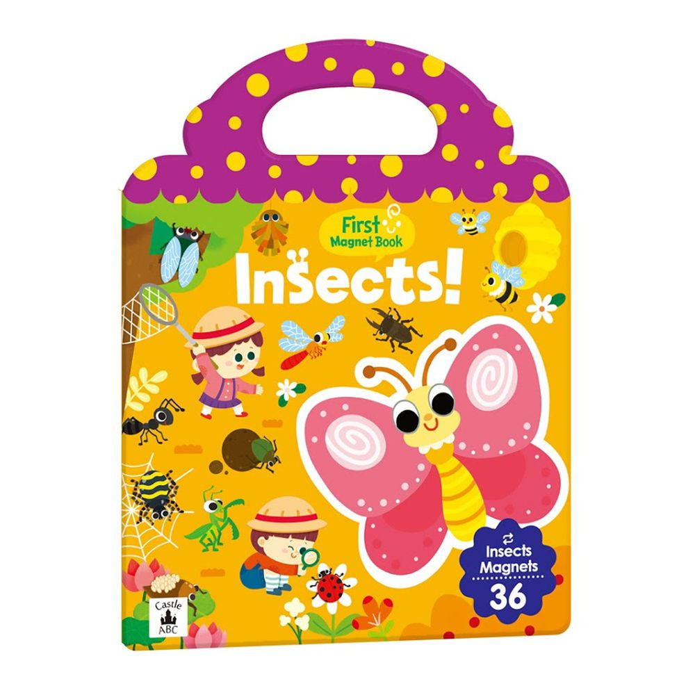 英文磁鐵遊戲書-First Magnet Book – Insects-內含36個認知磁鐵+3摺頁超大場景