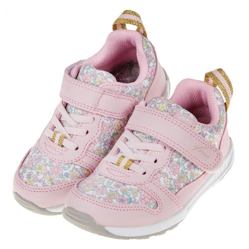 IFME - 日本IFME手繪風碎花CALIN粉紅兒童機能鞋