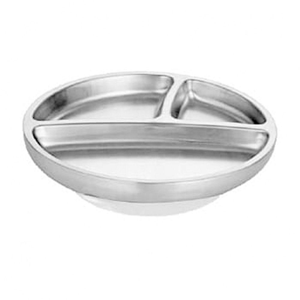 Avanchy - 雙層不鏽鋼-吸盤式餐盤-白