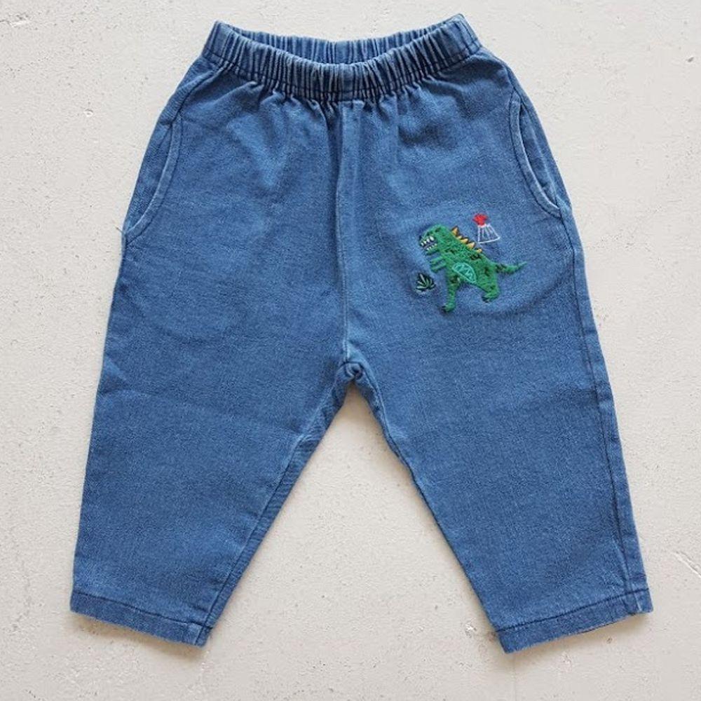 韓國 Mimico - 刺繡火山暴龍彈力牛仔褲-藍