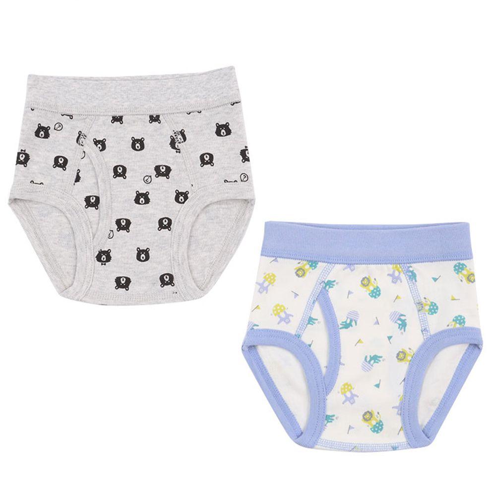 akachan honpo - 三角褲2件組-熊 動物-灰色