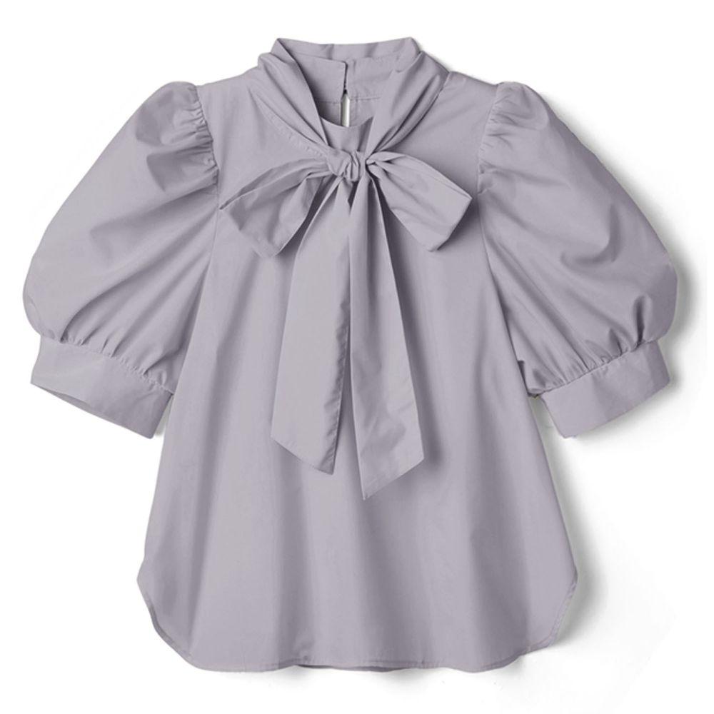 日本 GRL - 2way 蝴蝶結綁帶澎澎五分袖上衣-星塵藍