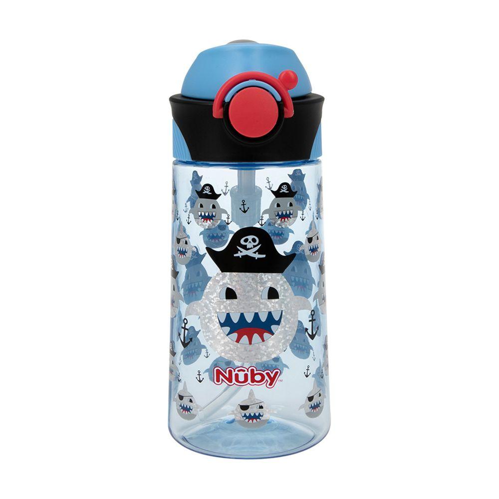 Nuby - 晶透運動隨行杯-閃亮款-鯊魚(細吸管) (450ml)
