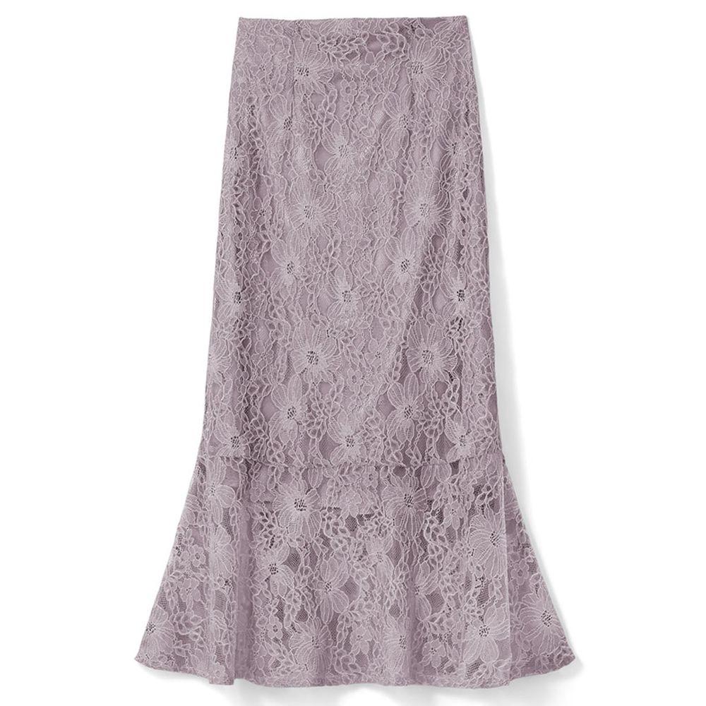 日本 GRL - 古典優雅蕾絲魚尾長裙-星塵粉