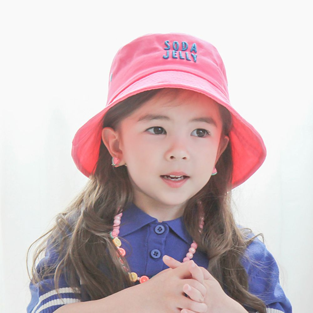 韓國 Babyblee - 活力汽水漁夫帽/遮陽帽-桃粉 (頭圍:52cm)