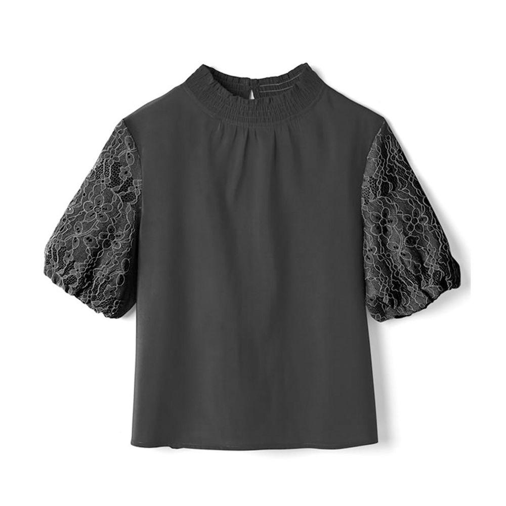 日本 GRL - 花朵蕾絲五分袖上衣-時尚黑