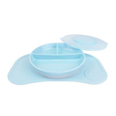 瑞典 TwistShake - 轉轉扣組合式防滑餐盤餐墊組(Mini)-迷你餐墊-藍+分格餐盤-藍-6個月以上適用