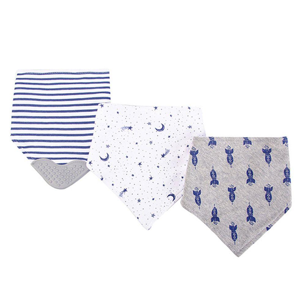 美國 Luvable Friends - 100%純棉超時尚嬰幼兒三角領巾/口水巾圍兜/咬咬兜3入組-藍色火箭 (單一尺寸)