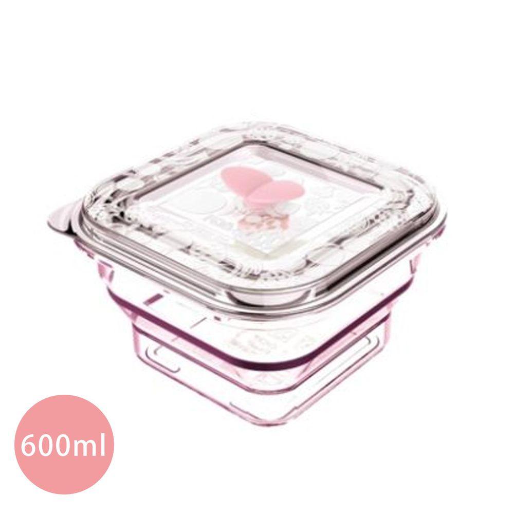 加拿大帕緹塔Partita - 全矽膠伸縮保鮮盒-正方形-水晶粉 (600ml)-伸13.5x13.5x7.5cm、縮13.5x13.5x3.5cm