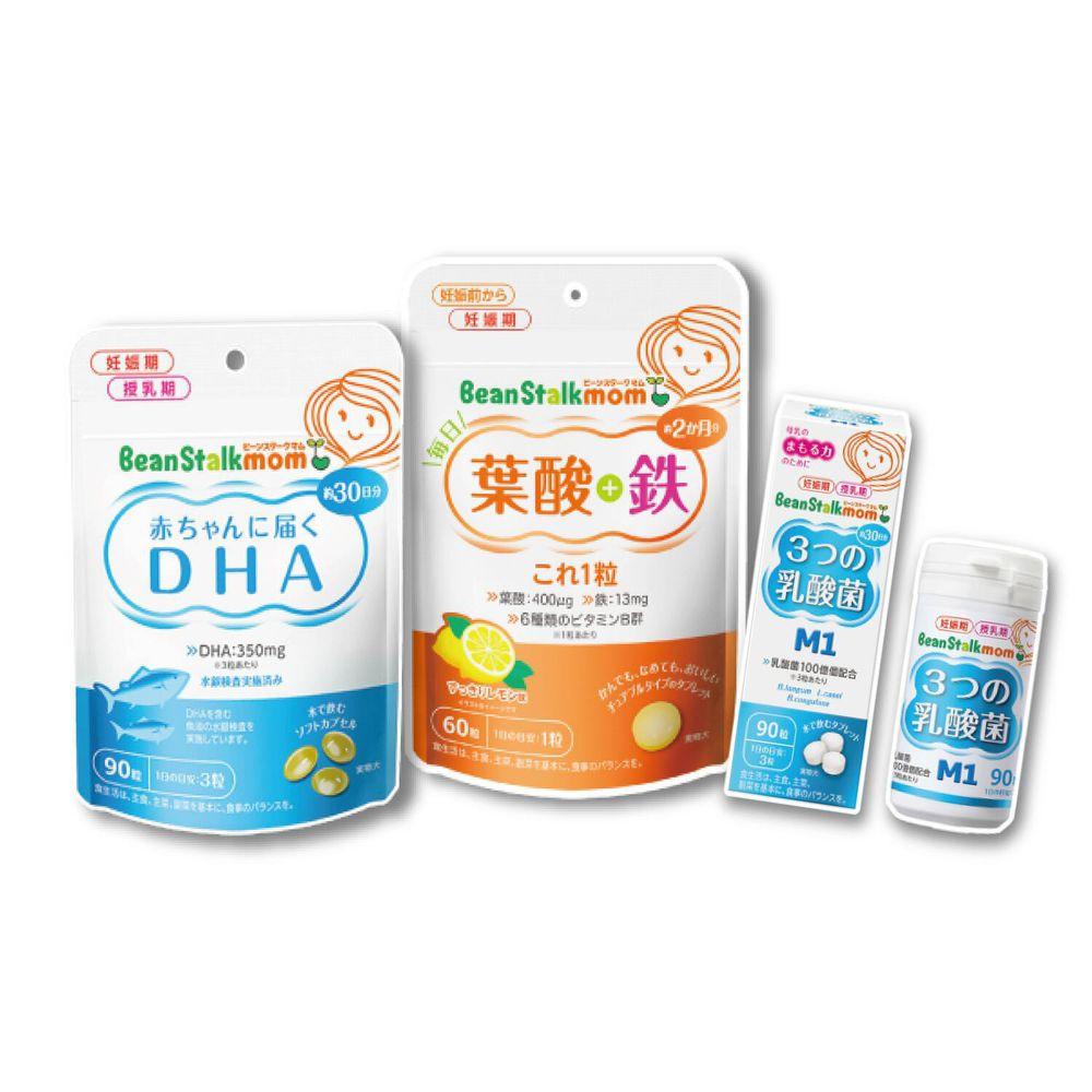 SNOW 雪印 - 孕期3寶:雪印葉酸.鐵營養錠+雪印DHA魚油膠囊+雪印3益菌錠