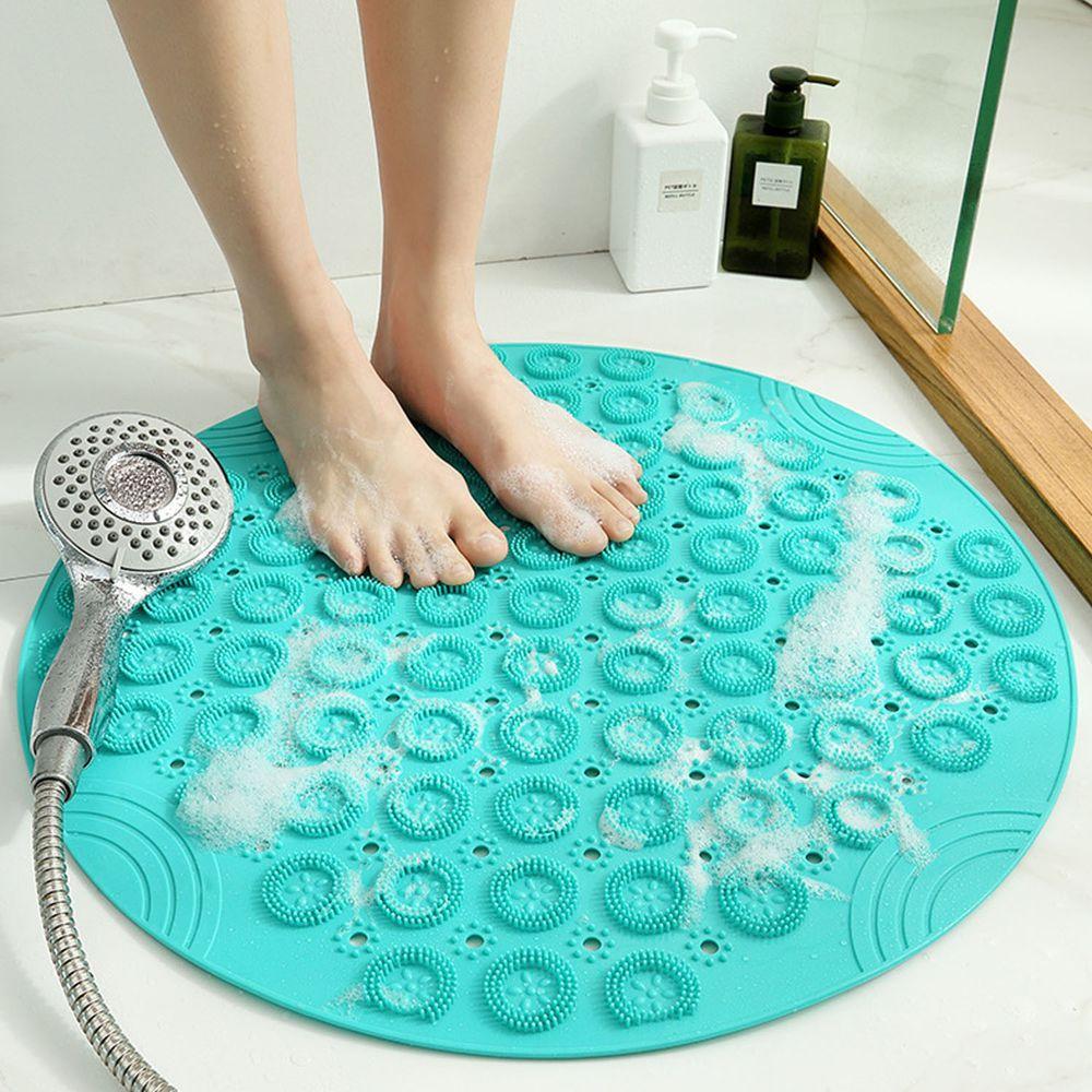 浴室超強吸力止滑腳踏墊-薄荷綠 (55x55cm)-圓形