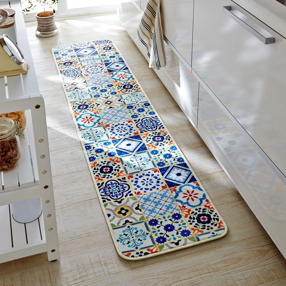 日本千趣會 - 長條型腳踏墊(廚房/臥室)-藍色系磁磚