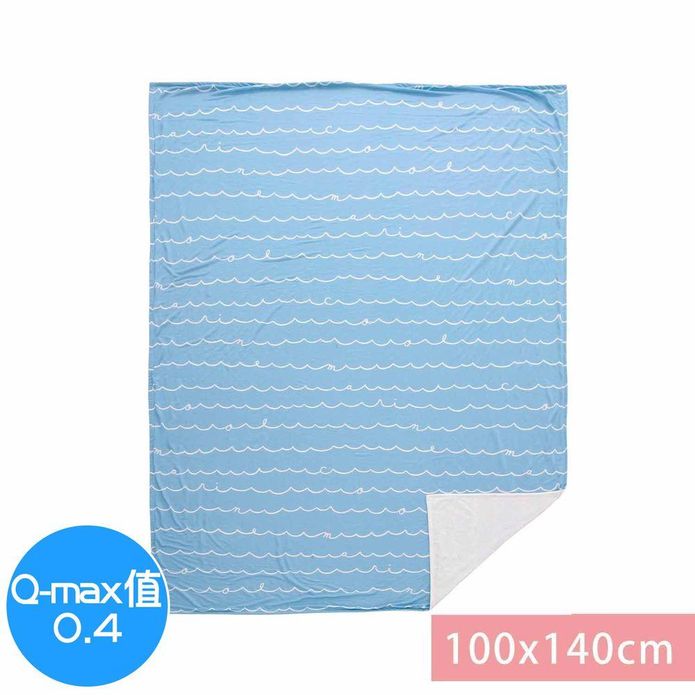 日本小泉 - 節電對策冷感薄毯-簡約線條字母-水藍 (100x140cm)
