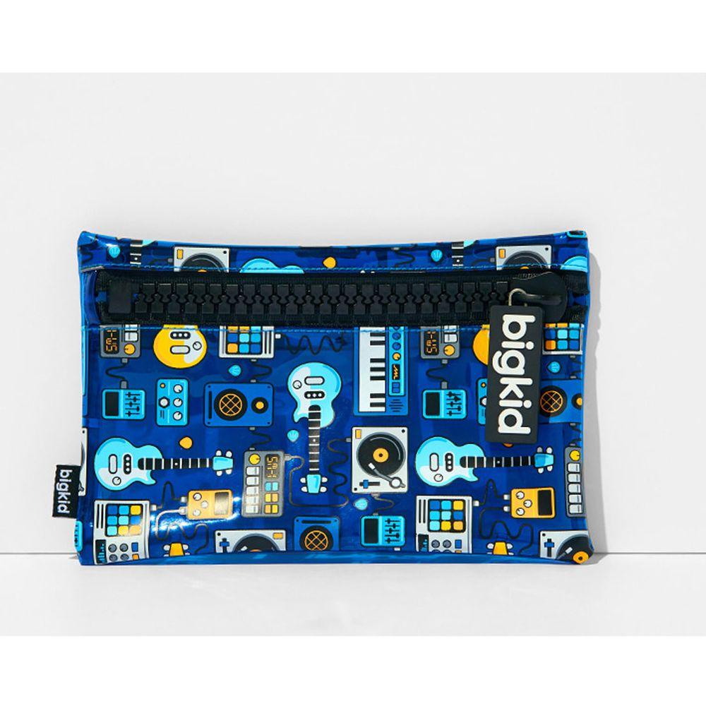 韓國 bigkid - 大拉鍊閃亮亮收納袋/鉛筆盒-電子音樂 (22.5X16cm)