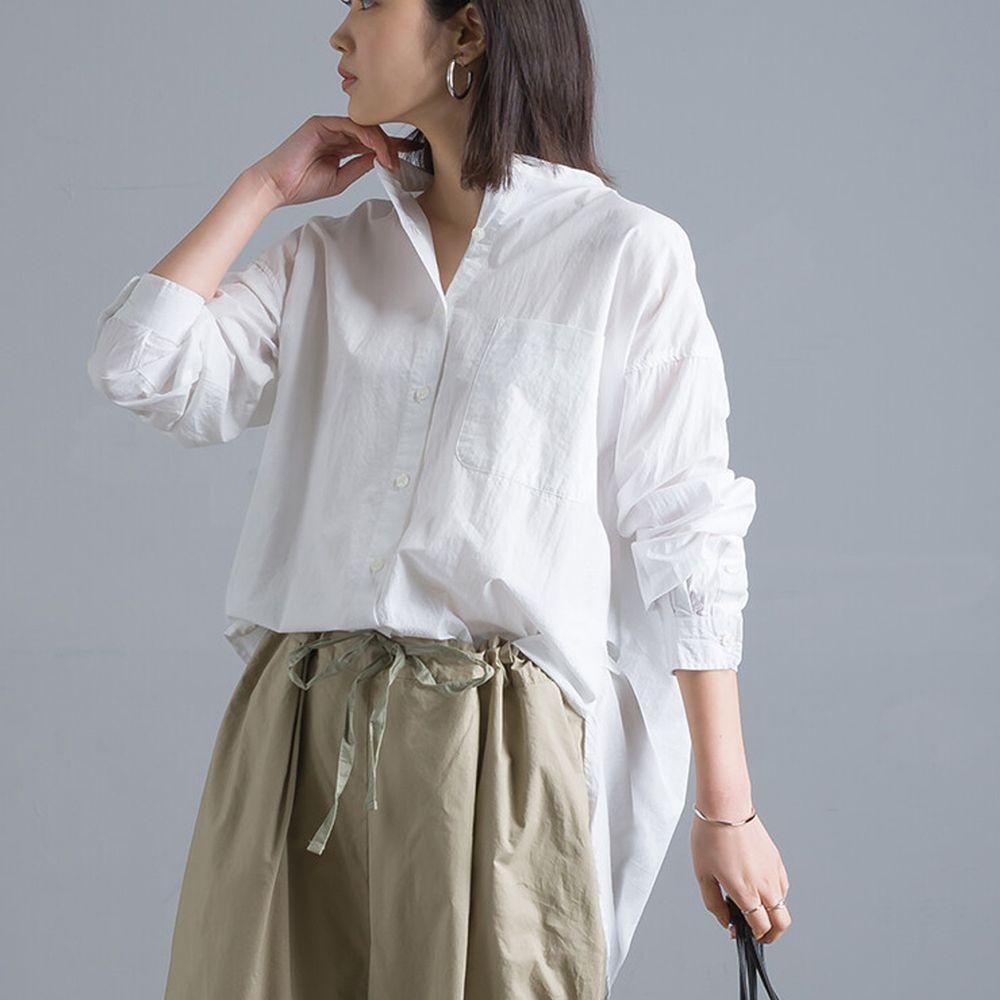 日本 OMNES - 純棉塩縮加工 修身長版圓下擺口袋長袖襯衫-白 (F)