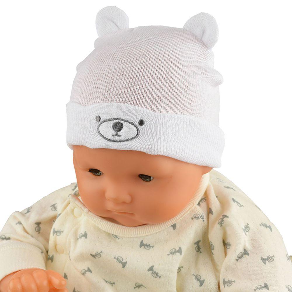 akachan honpo - 新生兒熊熊針織帽-米白色 (32~36cm)