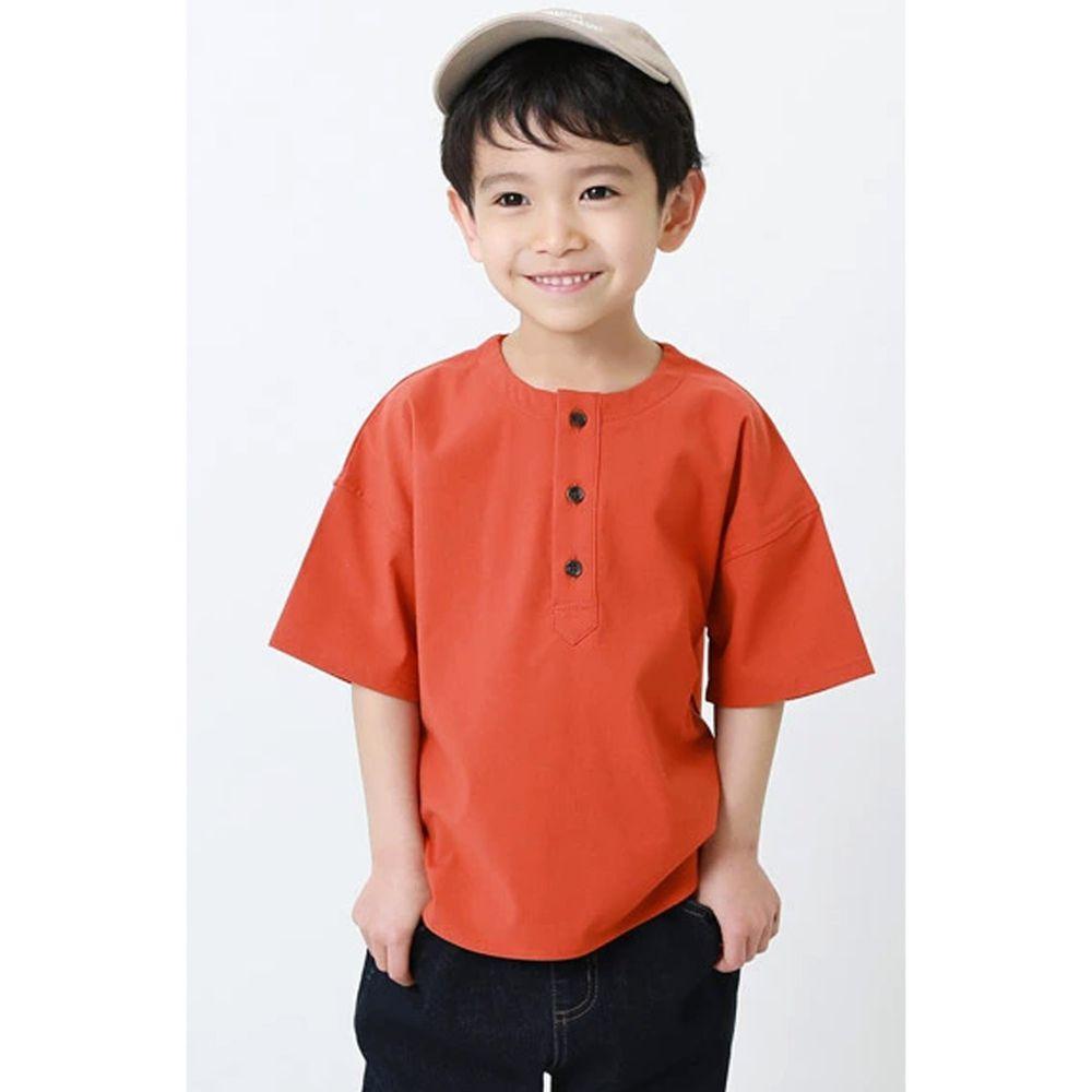 日本 devirock - 街頭風寬版三釦五分袖上衣-暖陽橘