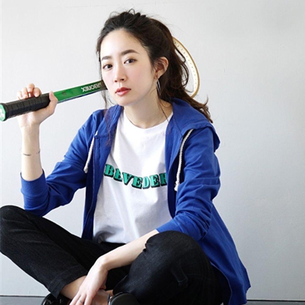 日本 zootie - 撥水X吸水速乾加工 抗透汗純棉防曬連帽外套-亮藍