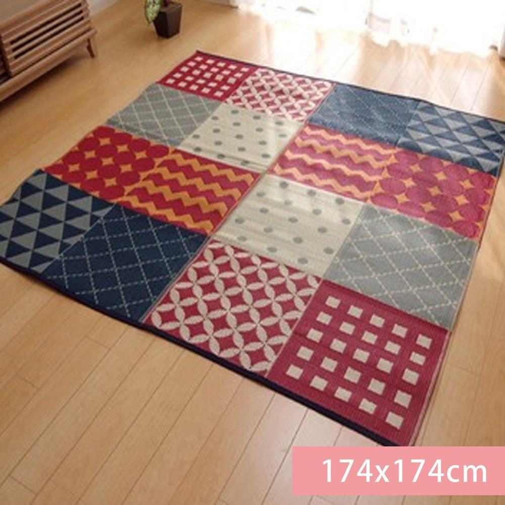日本池彥 - 過敏協會認證 日本製防蟎蟲野餐墊 / 地毯(4-5人)-幾何-紅 (174x174cm)