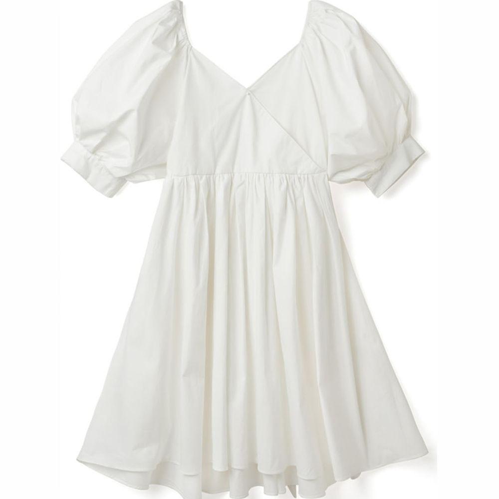 日本 GRL - 2way甜美大蝴蝶結美腰五分袖洋裝-天使白
