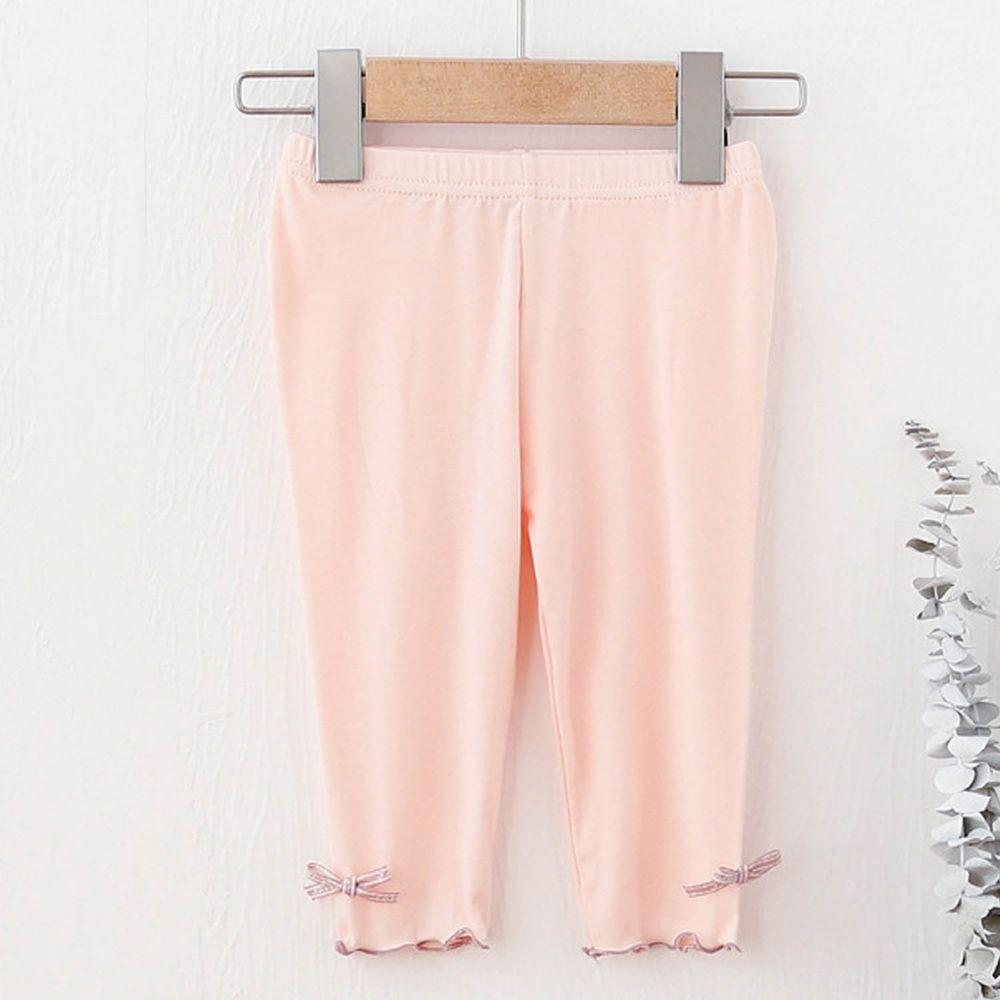 FANMOU - 七分內搭褲(莫代爾)-蝴蝶結-粉色