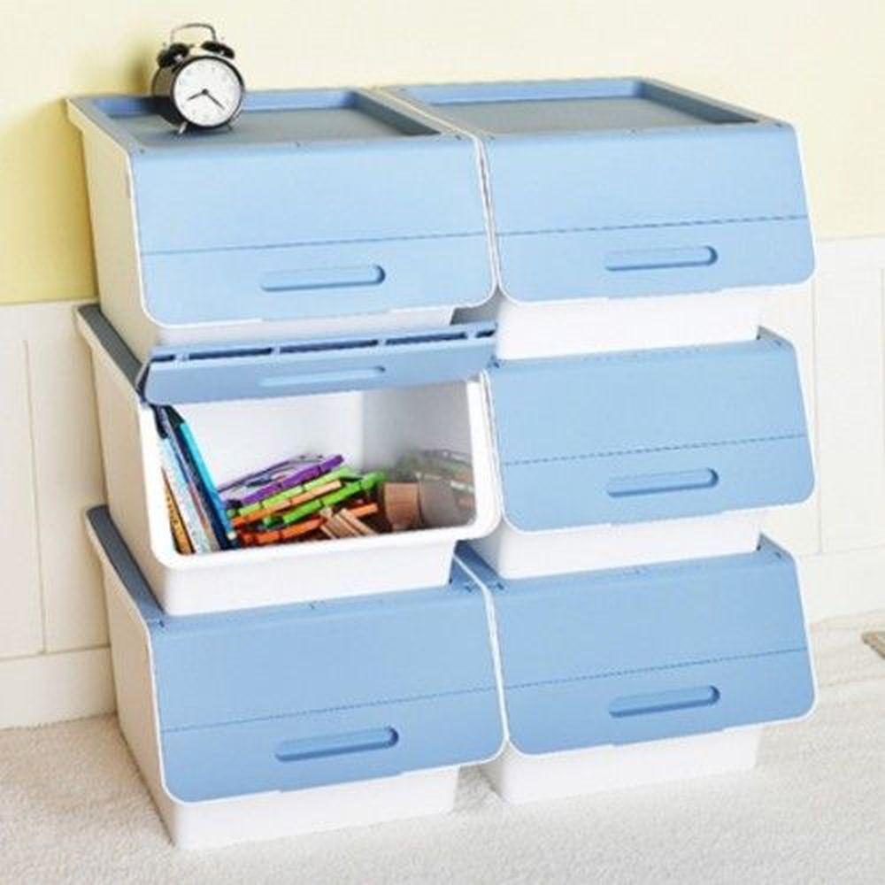 Keyway - 桃樂絲加大版二段掀蓋收納箱-白身藍蓋-40公升/6入