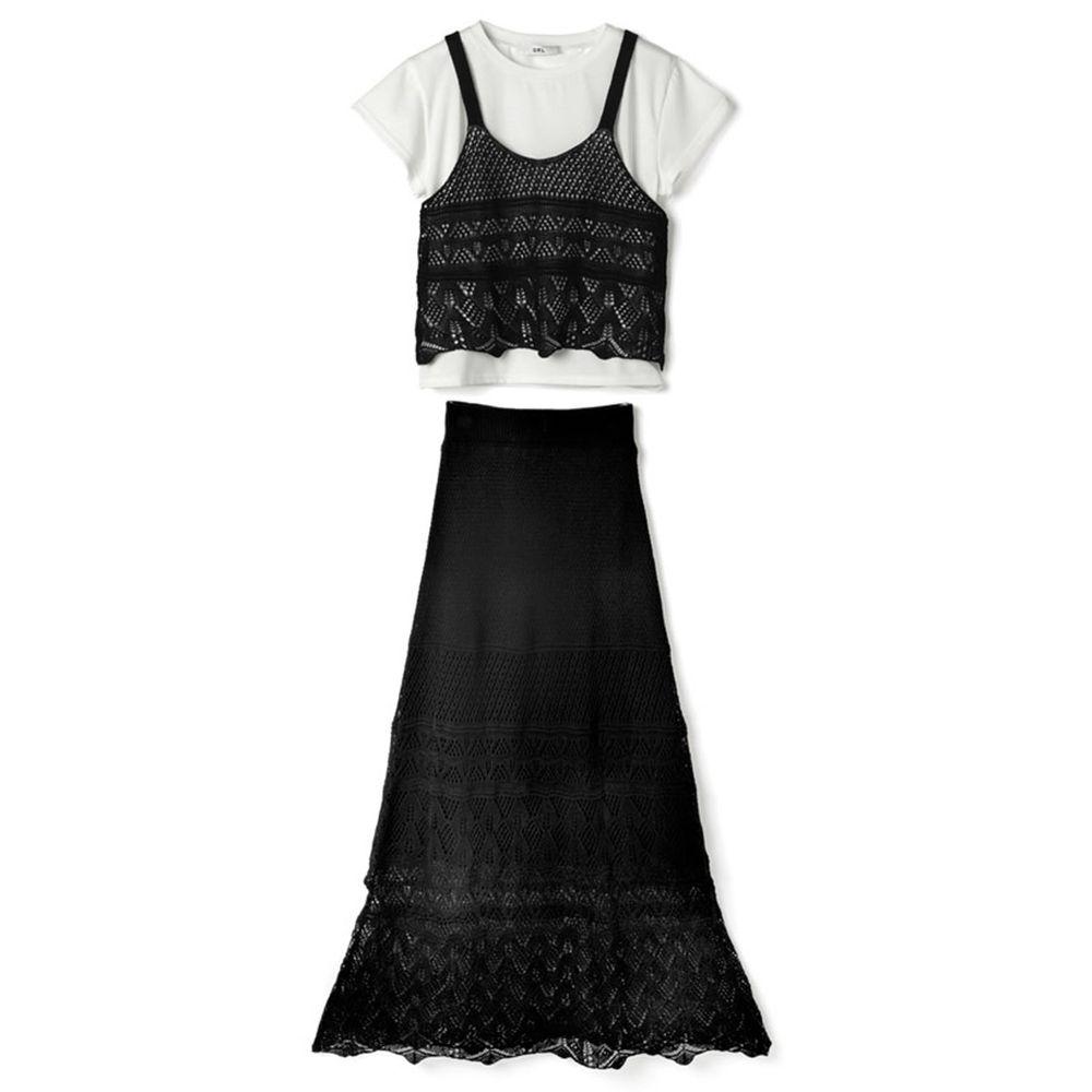 日本 GRL - 鏤空編織風白TX小背心X長裙三件組套裝-時尚黑