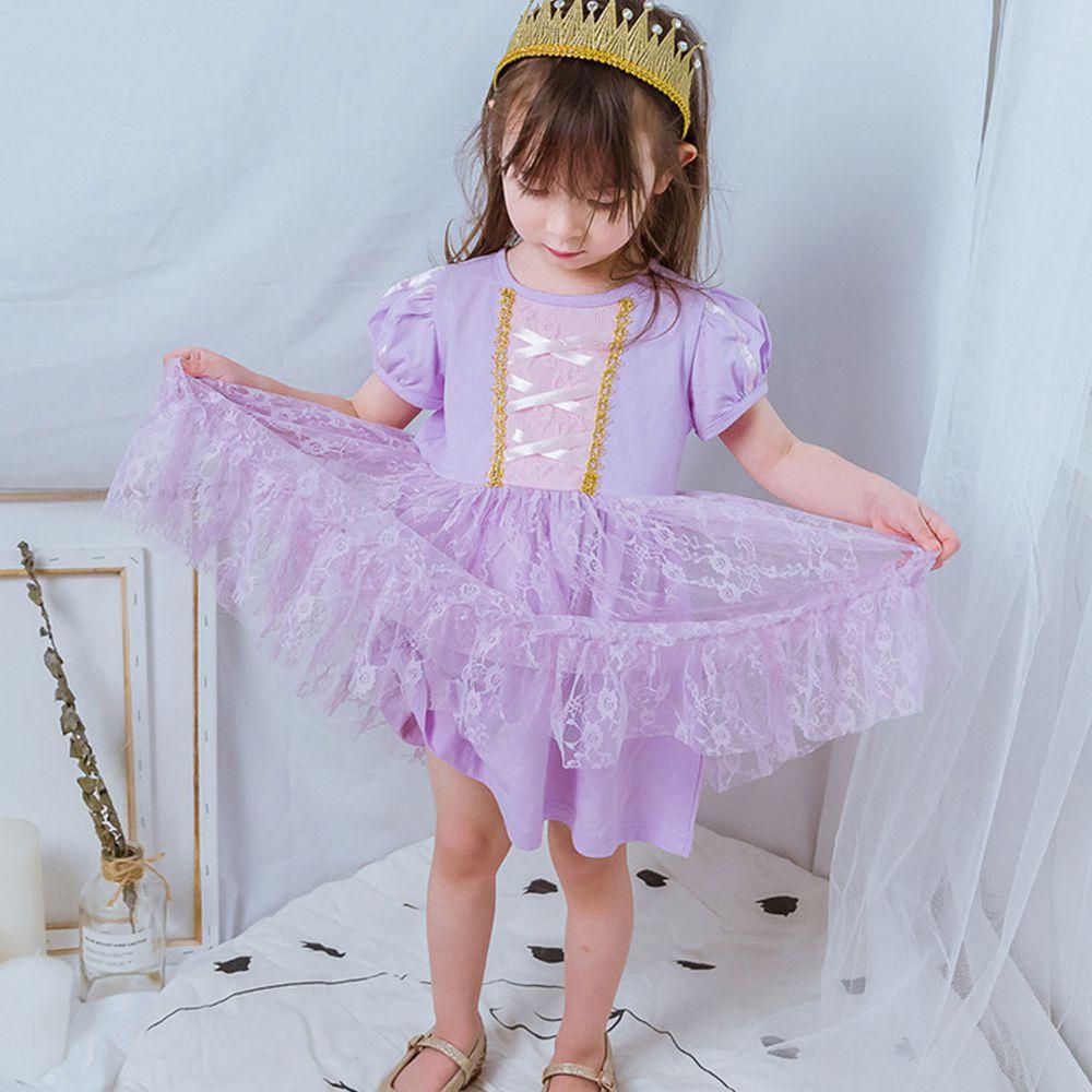 短袖造型公主裙-蕾絲夢幻紫