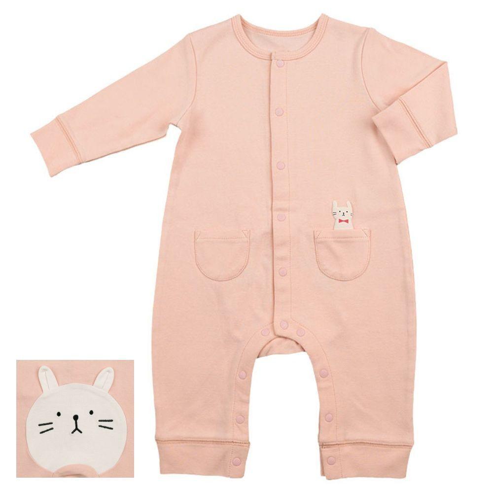 akachan honpo - 長袖兔裝 動物造型屁屁-粉紅色