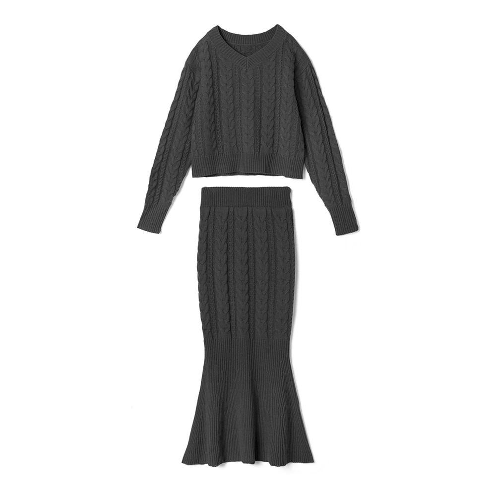 日本 GRL - 麻花編織針織毛衣+魚尾長裙套裝-時尚黑