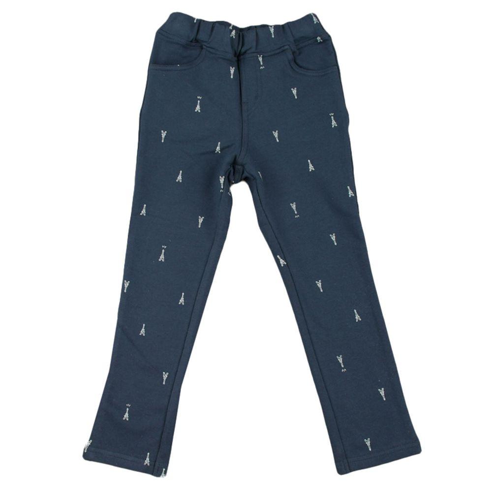akachan honpo - 10分彈性褲-花紋-深藍色